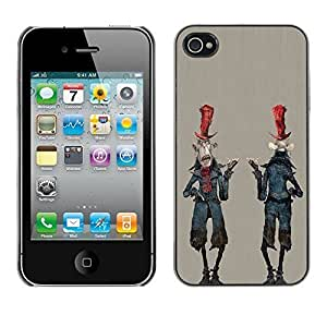 Colorful Printed Hard Protective Back Case Cover Shell Skin for Apple iPhone 4 / iPhone 4S / 4S ( Alien Cartoon Man Character Zombie Art )