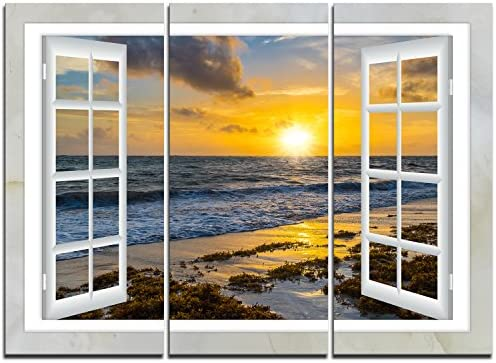 Open Window to Bright Yellow Sunset Modern Seascape on Canvas Art Wall Photgraphy Artwork Print