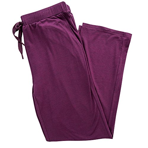 5 Pocket Wide Leg (LAYER 8 Womens Ladies Jersey Basic Lounge Wide Leg Pants Heather Berry Purple XL)