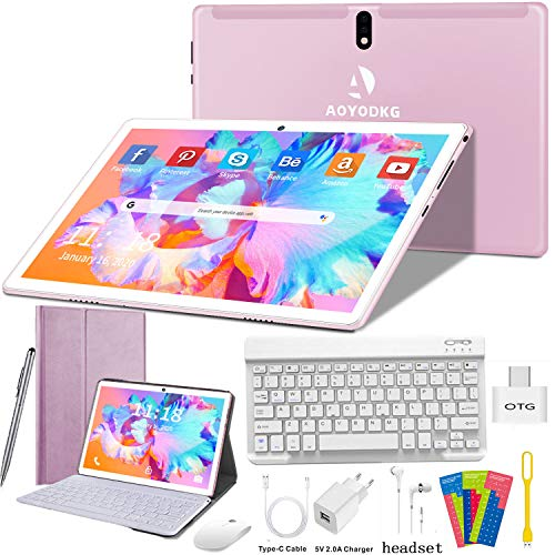🥇 Tablet 10 Pulgadas 4G/WiFi Android 9.0 Pie Ultrar-Rápido Tablets 4GB RAM + 64GB ROM/256GB Escalable | Laptop Convertible de Oficina | Dual SIM – 8000mA Bluetooth GPS Type-C