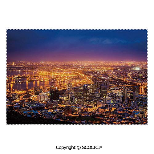 SCOCICI Placemats for Dining Table Stain-Resistant Cape Town Panorama at Dawn South Africa Coastline Roads Architecture Twilight Ultra-Durable Heat-Resistant Dining Mat