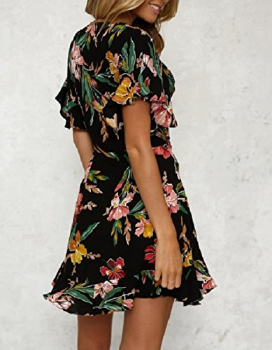 Spring Back Black Cotton Dresses Women Falbala Mini Neck Coolred Floral V qIw6f54