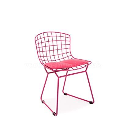 Merveilleux Kids Bertoia Style Wire Playroom Lounge Dining Side Chair   Pink
