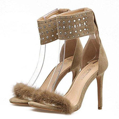GAOLIXIA Tacones altos de las mujeres del verano Rhinestones de la manera Tacones de aguja Sandalias romanas Zapatos cómodos Albaricoque negro Apricot