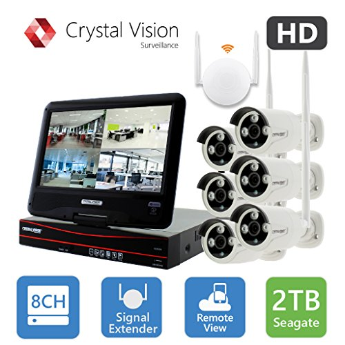 [8CH] Crystal Vision CVT9608E-3010W All-in-One TRUE HD Wireless Surveillance System NVR CCTV w/ 2TB HDD, Built-in Monitor & Router, Camera Auto Pair (Wireless System Extension)
