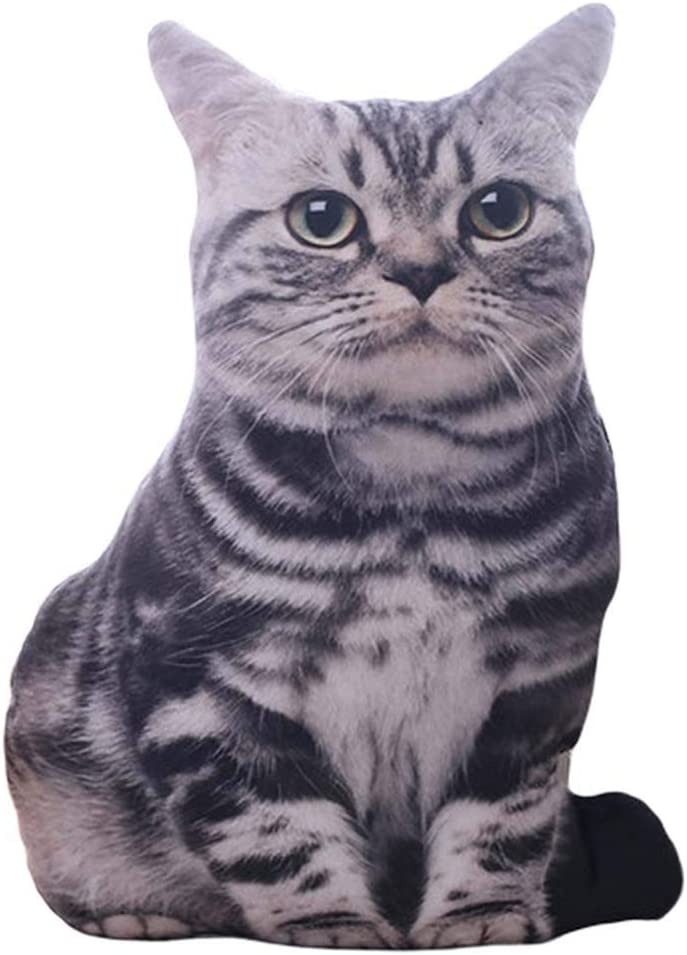 XIAOYAOJING Cat Throw Pillow, Comfy Cotton 3D Cat Shaped Cushion for Home Decor(30cm Black&Grey)