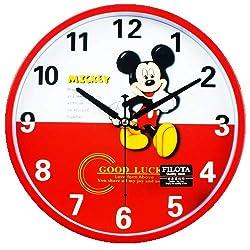 Imoerjia Mute Cartoon Clocks Living Room Wall Clock Round Quartz Clock Children Stylish Clock Table,26Cm Red Mickey Mouse