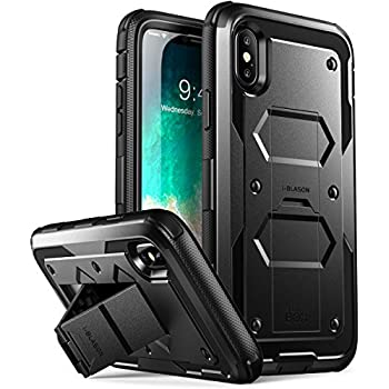 iPhone X Case, [Armorbox V2.0] i-Blason [Built in Tempered Glass Screen Protector][Full body] [Heavy Duty Protection] [Kickstand] Shock Reduction Case for Apple iPhone X / iPhone 10 (2017) (Black)