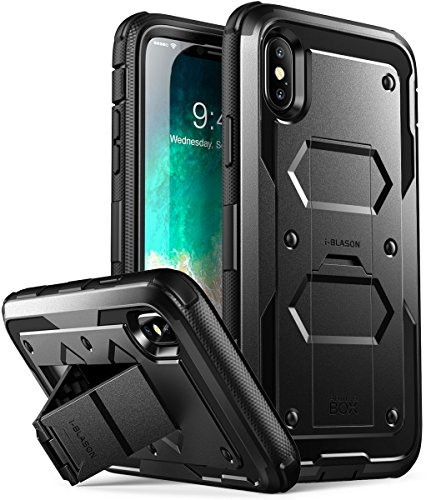 i-Blason Case Designed for iPhone X/iPhone Xs, [Armorbox V2.0] [Built in Tempered Glass Screen Protector][Full Body] [Heavy Duty Protection][Kickstand] Shock Reduction Case (Black)