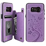 S8 Case Wallet with Card Holder, Vaburs Embossed Butterfly Premium PU Leather Double Magnetic Buttons Flip Shockproof Protective Case Cover for Samsung Galaxy S8 (Purple)