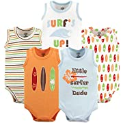 Luvable Friends Baby Infant 5-Pack Lightweight Sleeveless Bodysuits, Surfer, 18-24 Months