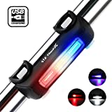 Thorfire Bike Lights Ultra Bright Cycling Lights USB Rechargeable Bicycle Tail Light Red/Blue/White 7 Light Modes, High Intensity Rear LED Fits On Any Road Bikes, Helmets for Optimum Cycling Safety