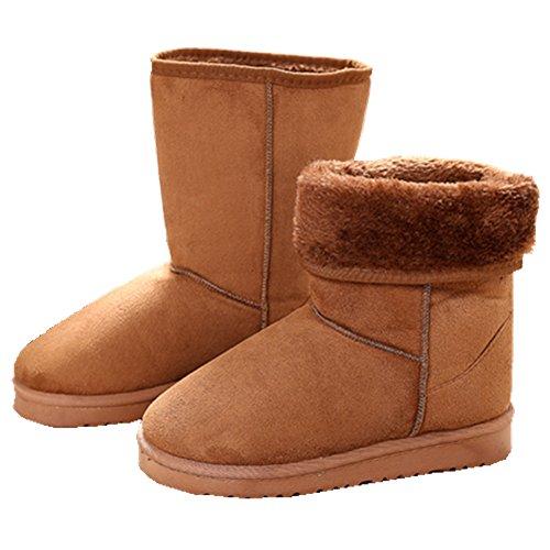 Kvinnor Vinter Snö Tung Pälsfoder Slip På Casual Mode Kallt Väder Snö Stövlar Brun