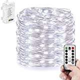 Homestarry® Battery String Lights Pro /33 Feet / 132 Cool White Led's / Silver Wire / / Battery Operated - Waterproof Design - Perfect for Indoor and Outdoor Environments - Lights Have 8 Modes - Remote Control Feature Easily Regulates Your Lighting Modes - 100% Satisfaction Guarantee.