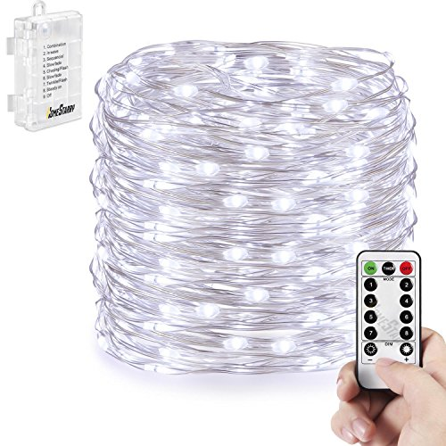 Homestarry LED String Lights,Battery Powered Cool White String Lights With  Remote,132leds Indoor Decorative Silver Wire Lights For Bedroom  ,Patio,Outdoor ...