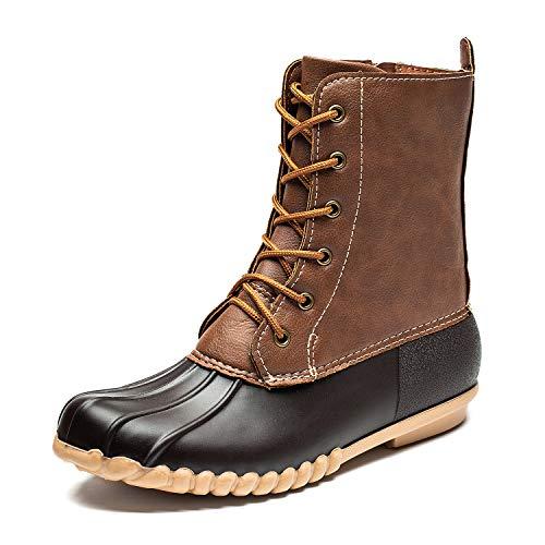 (DKSUKO Women's Duck Boots with Waterproof Zipper (9 B(M) US, Brown No Fur))