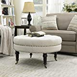 Large Fabric Ottoman Coffee Table Belleze Tufted Beige Linen 33-inch Round Accent Ottoman Foot Stool Large, Beige