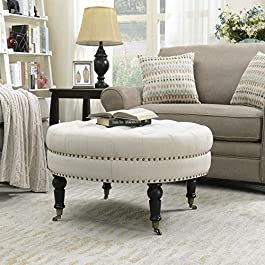 Belleze 33″ inch Round Tufted Linen Ottoman Large Footstool Cocktail with Caster, Gray/Beige