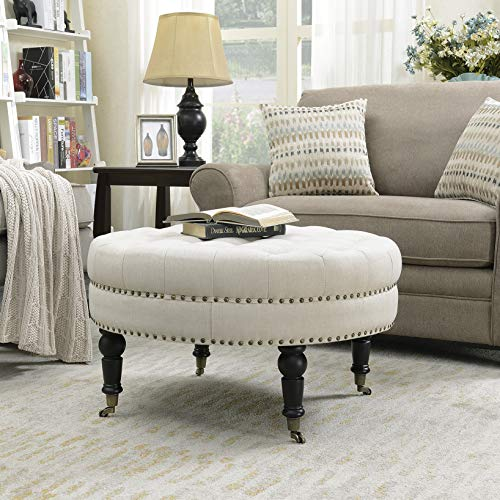 Belleze Tufted Beige Linen 33-inch Round Accent Ottoman Foot Stool Large, Beige