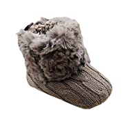 Weixinbuy Baby Girls Knit Soft Fur Winter Snow Boots Crib Shoes Coffee 0-6M