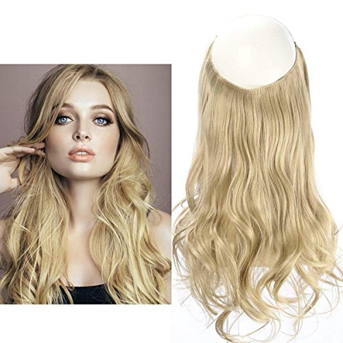 """Ash Blonde Halo Hair Extension Secret Invisiable Flip Hidden Wire Crown Natural Curly Long Synthetic Hairpiece For Women Japan Heat Temperature Fiber SARLA 18"""" 4.4oz M01&24/613"""