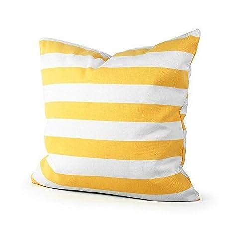 Coliang - Funda de cojín de rayas rectas amarillas, cuadrada ...