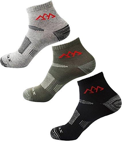 ITrustit 靴下 メンズ アルパインソックス アウトドア トレッキング ランニング スニーカー スポーツソックス 登山 サイクリング ゴルフ ショートソックス 25cm ~ 27cm 3足組 A0018
