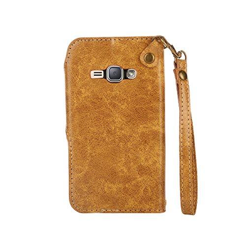 MEIRISHUN Leather Wallet Case Cover Carcasa Funda con Ranura de Tarjeta Cierre Magnético y función de soporte para Samsung Galaxy J1 (2016) - naranja Caqui