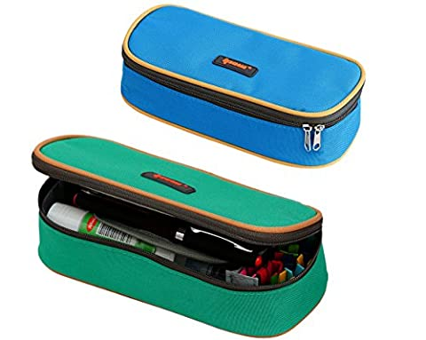 2 Pack(Blue+Green Colors)Pencil Holder,Ipow Big Capacity Multifunction Canvas Pencil Case Bag Storage Organizer With Double Zipper For Students (Clear Post It Pockets)