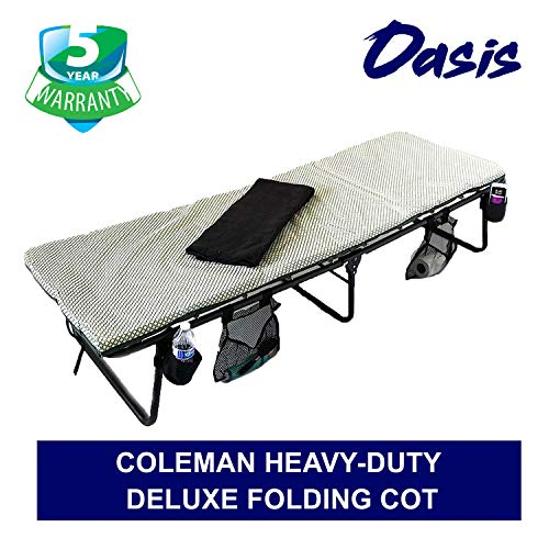 Oasis Coleman Deluxe Folding Cot – Portable, Heavy-Duty Easy to Carry Construction – Bonus Item Includes LED Flashlight, Side Storage Bags, Bottle Holders Blanket – 5 Years Warranty