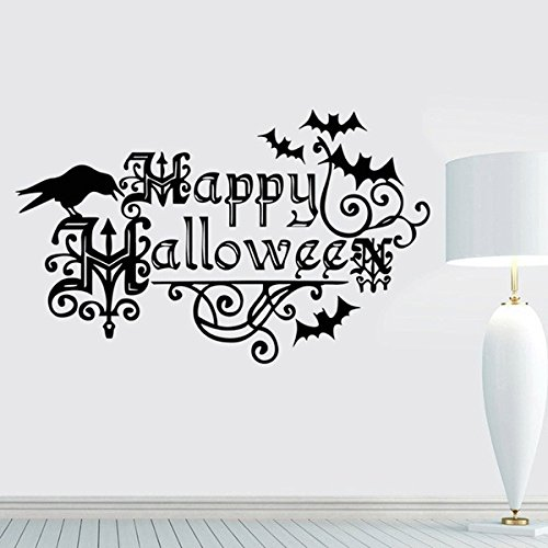 mnmkz Wall Stickers Decals Crow Nursery Bats Window Halloween Halloween Kids Decorations Vogue Happy Halloween 22.213.7Inch