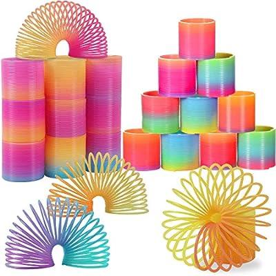 LISOPO Juguetes de Primavera del Arcoiris, Mini Juguete del Resorte Arco Iris Mágico Colorido Cumpleaños Regalos de Fiestas Infantiles