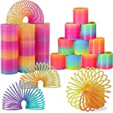 LISOPO Mini Springs Toy, 24pcs Colorful Mini Rainbow Circle Toy Pinata Party Loot Bag Fillers Toy