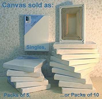 (Art Alternatives 10 x 10 inch Pre-Stretched Studio Canvas (Pack of 5 Canvasses) )
