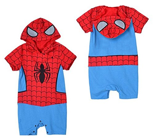 oddler Spiderman Short Sleeve Photo Prop Hoodie Baby Boy Romper (80/6-12 Months) (Spider Man Prop)