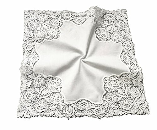 Floral Wedding Crochet Embroidery Lace Handkerchief For Bride & - Names The On Ladies View Of