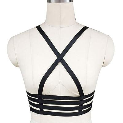 Cinturón de arnés de cuerpo de mujer Lencería femenina Arnés para el cuerpo Sujetador en forma de X Sujetador con tiras elástico Cupless Cinturón para damas Elegante Cinturón para la cintura Cofre par: Hogar