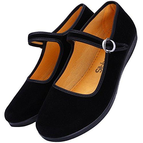 Women's Cotton Mary Jane Shoes Ballerina Ballet Flats Yoga Exercise Shoes (9)