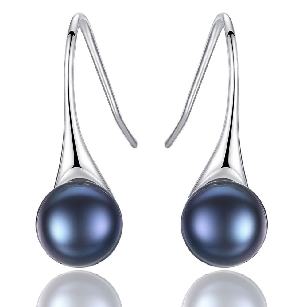 Black Freshwater Pearl Earrings Dangle Drop Sterling Silver Earrings Fine Jewelry for Women