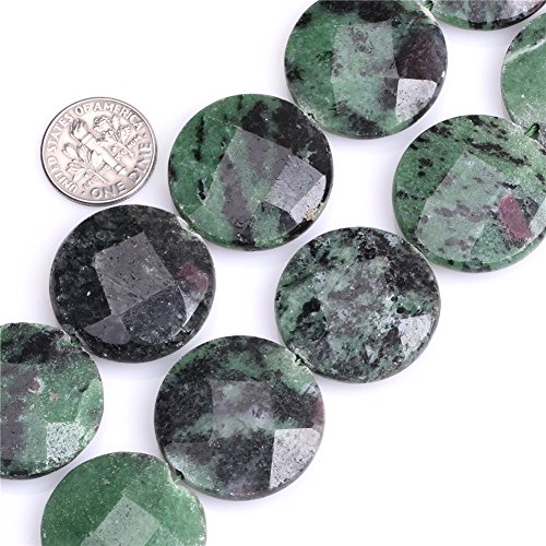 - Joe Foreman Ruby Zoisite Beads for Jewelry Making Natural Semi Precious Gemstone 24mm Coin Faceted Green Strand 15