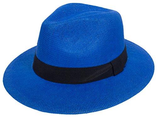 DRY77 Cool Straw Panama Hat Wide Large Flat Brim Fedora Outback Men Women Beach, Royal -