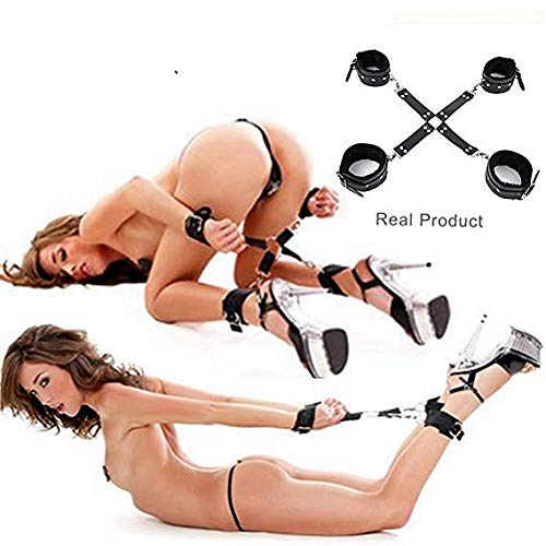 (LHhappyshop Soft & Comfortable Leather Plush Cuffs for Hand-Wrist and Leg Adjustable Black Straps Set)