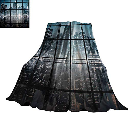 RenteriaDecor Modern,Fashion Warm All Season Blanket Modern New York City Scenery at Night with Skyscrapers Buildings Print Throw Rug Sofa Bedding 90