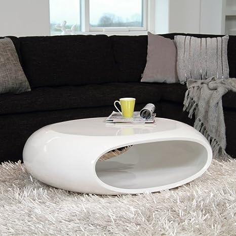 Unbekannt Design Couchtisch Space Oval Weiß Hochglanz Wohnzimmertisch Maße 100x70cm 4199