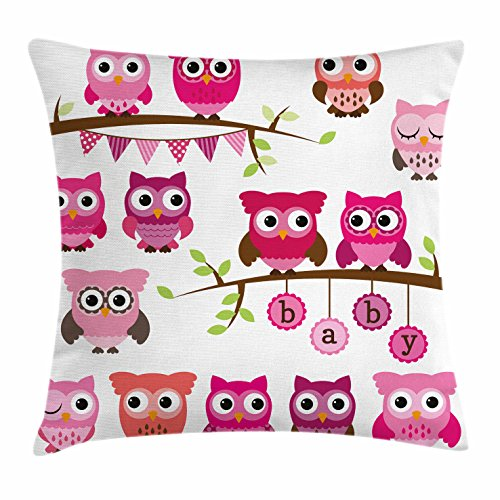 (Ambesonne Nursery Throw Pillow Cushion Cover, Girl Baby Shower Themed Owls and Branches Adorable Cartoon Animal Characters, Decorative Square Accent Pillow Case, 16 X 16 Inches, Purple Pink Brown)