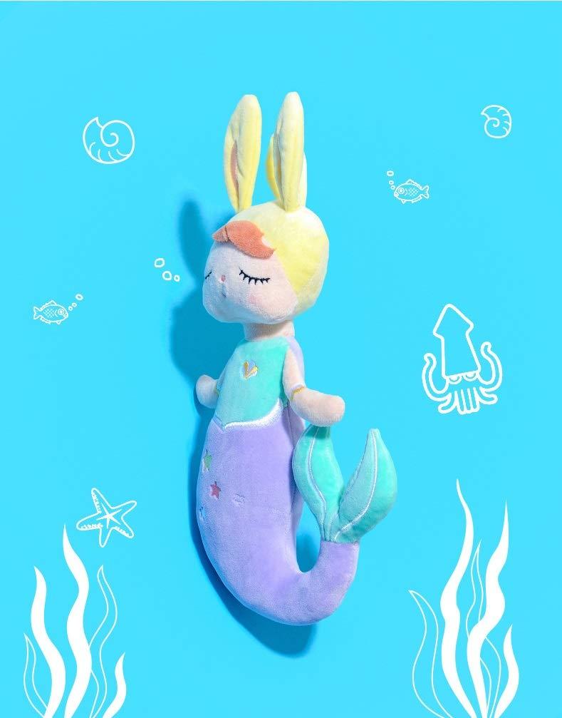SANDAO MeToo Plush Toys Mermaid Stuffed Animal Toys Angela Plush Rabbit Stuffed Gift Dolls for Kids Children 15 Inch (2 Pack Blue+Purple)