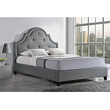 baxton studio colchester linen modern platform bed king grey - Baxton Studio Bed