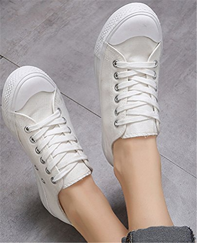 SATUKI Canvas Shoes For Women,Flat Loafer Lace Up Casual Fashion Sport Sneakers White