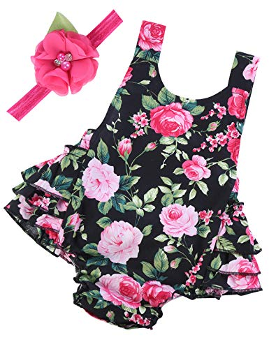 PrinceSasa Baby Girl Clothes Black Cloth Floral Ruffles Summer Rose Cake Smash Romper and Rose Headband for Newborn Gifts,A2,0-6 Months(Size S)]()
