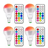 (4 Pack)RGB Led Light Bulb,Sunpion® 3W Led RGBW Lamps,Led Bulbs Colour Lights for For Home, Office, Decorative Lights,Led Candel Light(RGBW 3W E14 4Pcs)